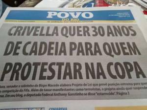 Crivella quer 30 anos de cadeia para quem protestar na copa