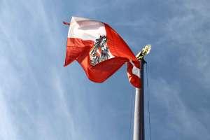österreichischen Fahne vor dem Parlament