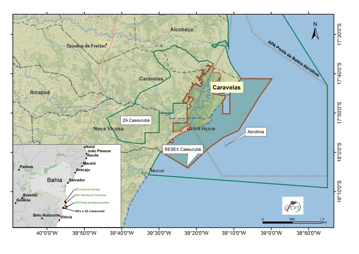 mapa Caravelas